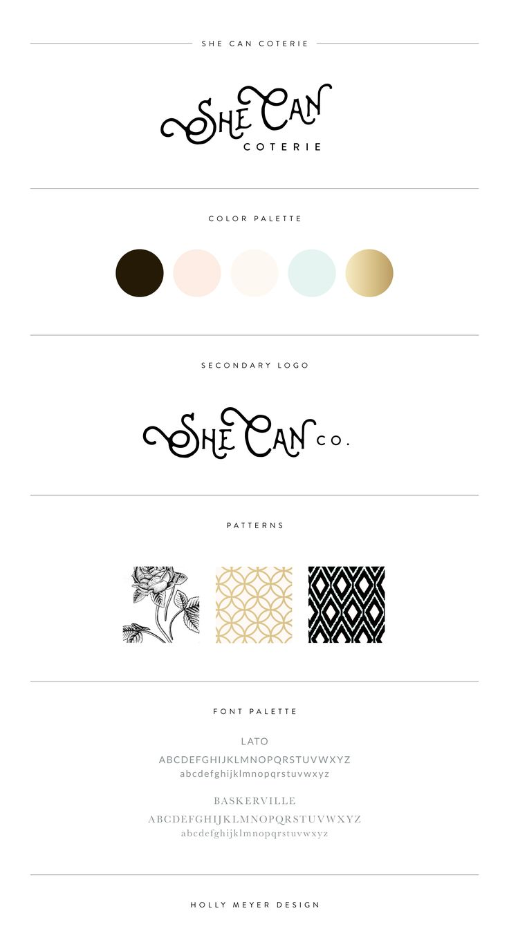 A chic and modern brand style guide by Holly Meyer Design for She Can Coterie, a boutique virtual assistant agency.