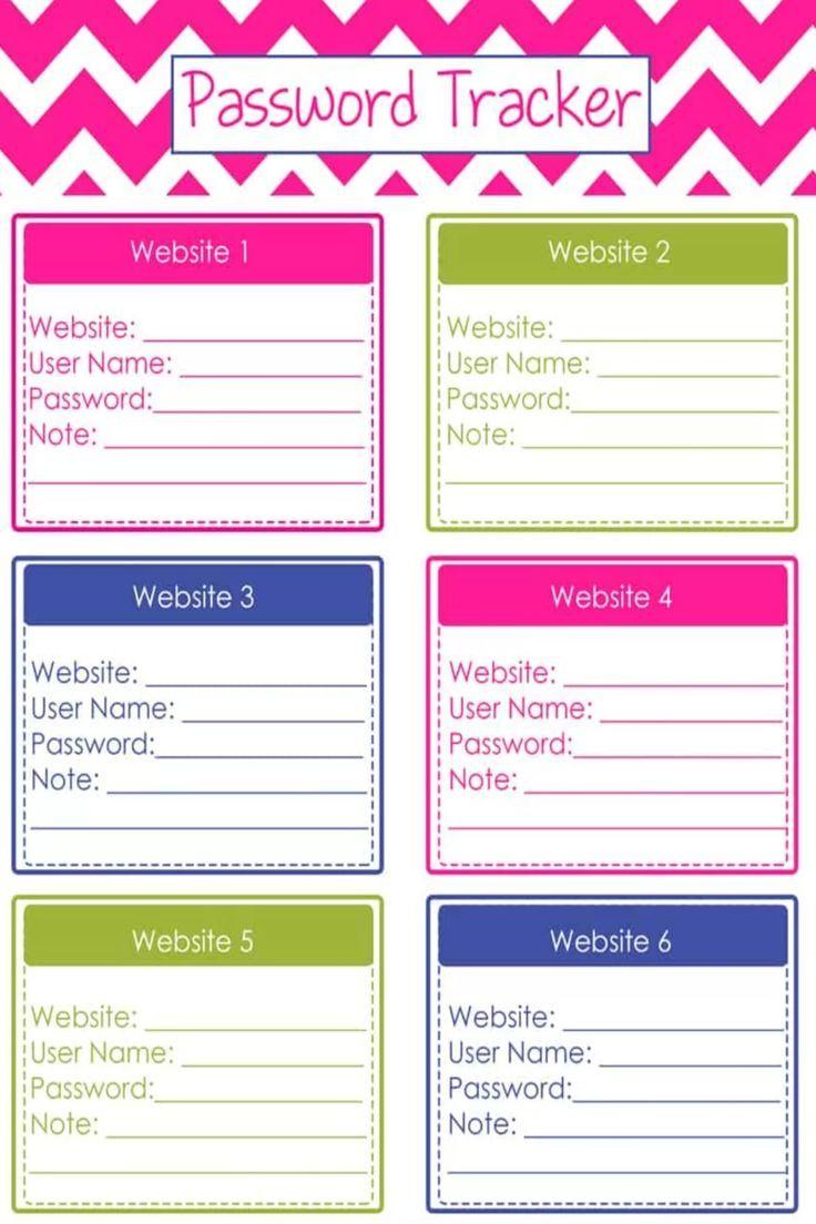 Website Password Logs Free Printable PDF Password