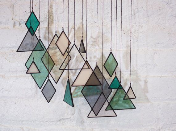 SALE Stained Glass Elements set of 17 by BespokeGlassTile on Etsy