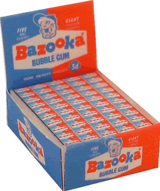 Bazooka Joe Bubble Gum. I kept this bubble gum on me all the time. I even got caught eating it in church. lol