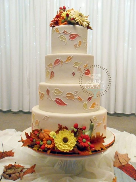 Autumn Wedding Cake Ivory Fondant With Hand Painted And Piped Falling Leaves Handmade Sugar Decorations Vanilla