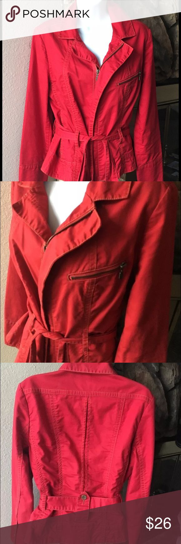 CAbi women's red zip-up jacket size large This listing is for a CAbi red zip up jacket in excellent used condition. Size Large fits more like a Medium/Large. Stain free and comes from a smoke free & pet free home. 100% Cotton. CAbi Jackets & Coats