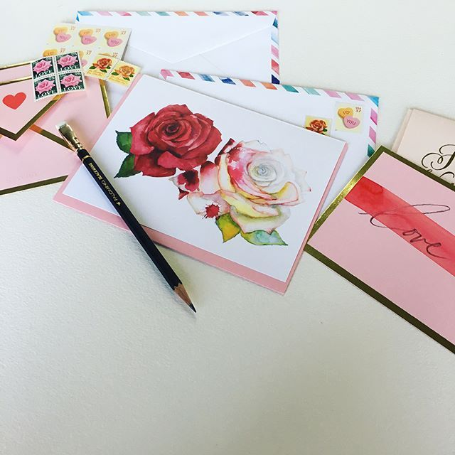 in the mood . . . . . #watercolor #watercolour #Valentinesday #Valentine #snailmail #loveletter my gorgeous new #sugarpaperla pen & Valentine, my painting the roses red card & watercolor airmail envelope, my all time favorite sweethearts 37 stamp & knot & bow heart stickers. @shanafrase #shanafrase shanafrase@gmail.com by shanafrase #love #inthemood #onlyyou #happyvalentinesday #iloveyou