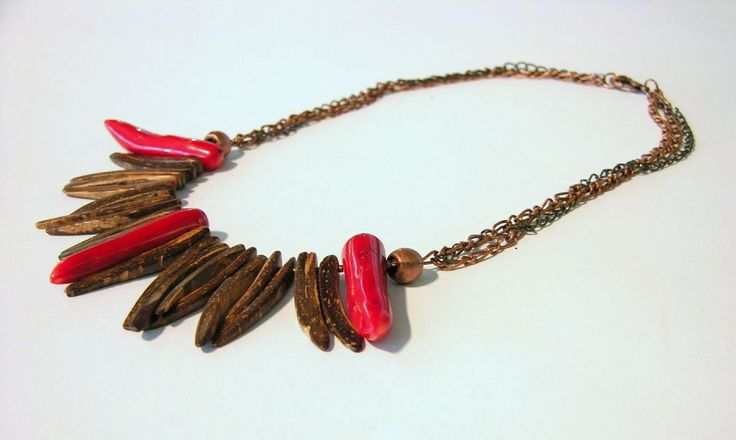 coral and exotic wood