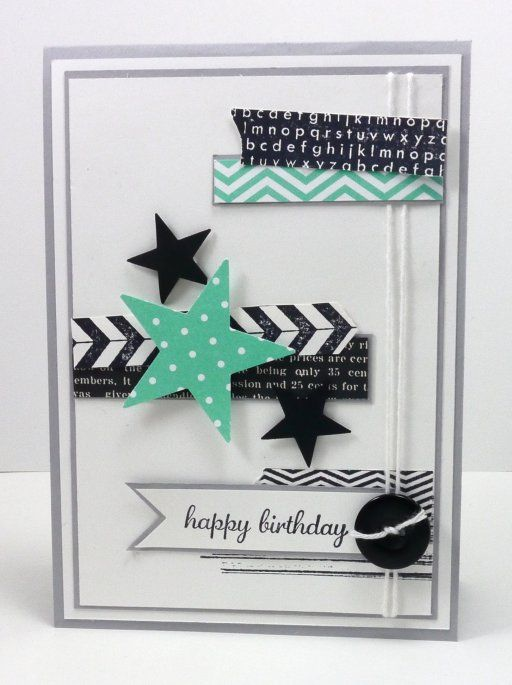 Stampin' Up! Birthday by Narelle, would be nice for teens; washi tape and star punch, nice colors