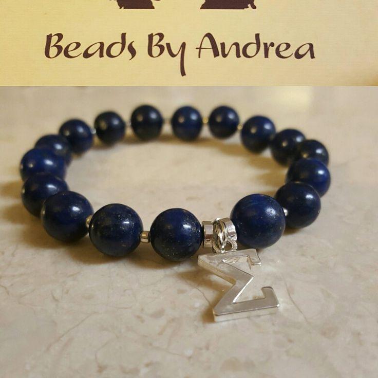 Lapiz lazuli beads with silver Sigma charm