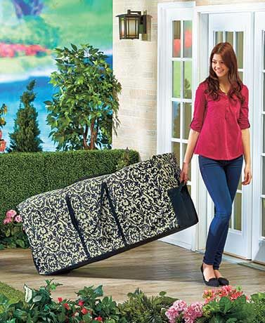17.00  The Rolling Outdoor Cushion Storage bag shields your furniture accessories from adverse weather. This strong bag is made of heavy-duty material and has a zip closure so it's easy to pack. Its 2 rolling wheels help you move it from one place to another an