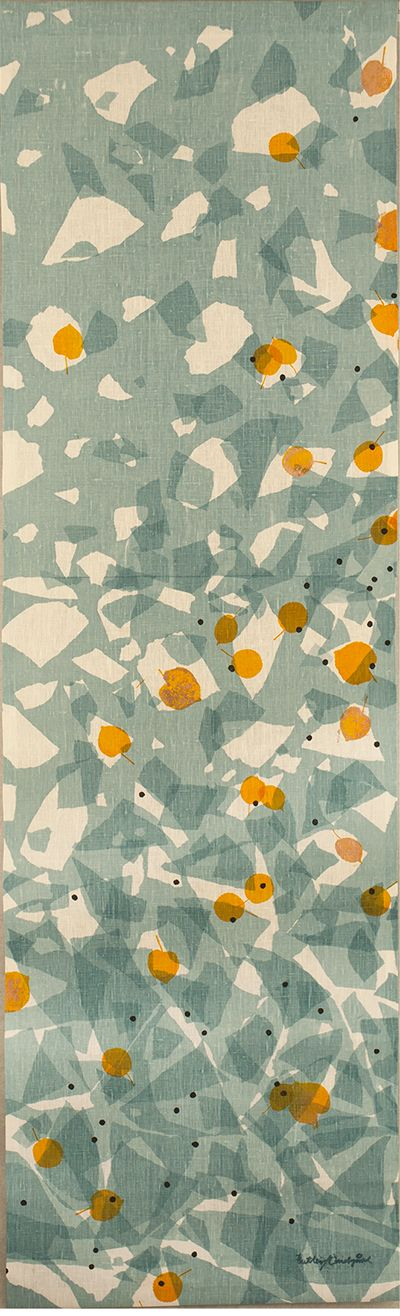 Overlapping abstract pattern design by Butler Lindgård, calm green.grey palette with pops of orange