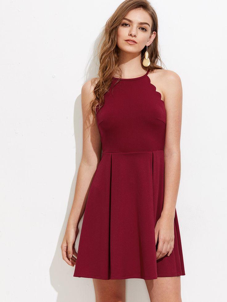 Scallop Edge Box Pleated Dress -SheIn(Sheinside)