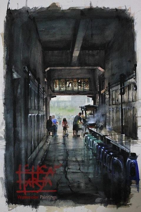 A Noodle Vendor at Braga Street, Bandung - Indonesia. Watercolor on Paper, 38 x 57cm.    By M. Ichsan Harja Nugraha.    URL: https://www.facebook.com/photo.php?fbid=4307437574573=a.4182555012587.2169356.1545819082=1