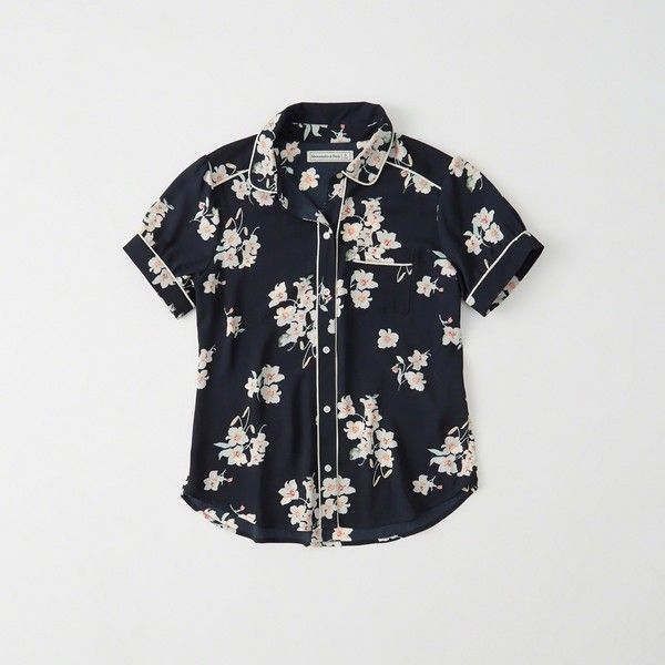 Abercrombie & Fitch Patterned Button-Up Shirt ($48) ❤ liked on Polyvore featuring tops, navy floral, floral button down shirt, floral print shirt, pattern button up shirts, navy shirt and collared shirt