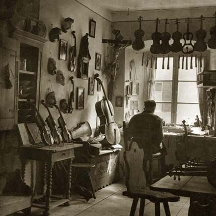 The violin workshop of an early 20th century Mittenwald craftsman  Photographer unknown, c. 1935