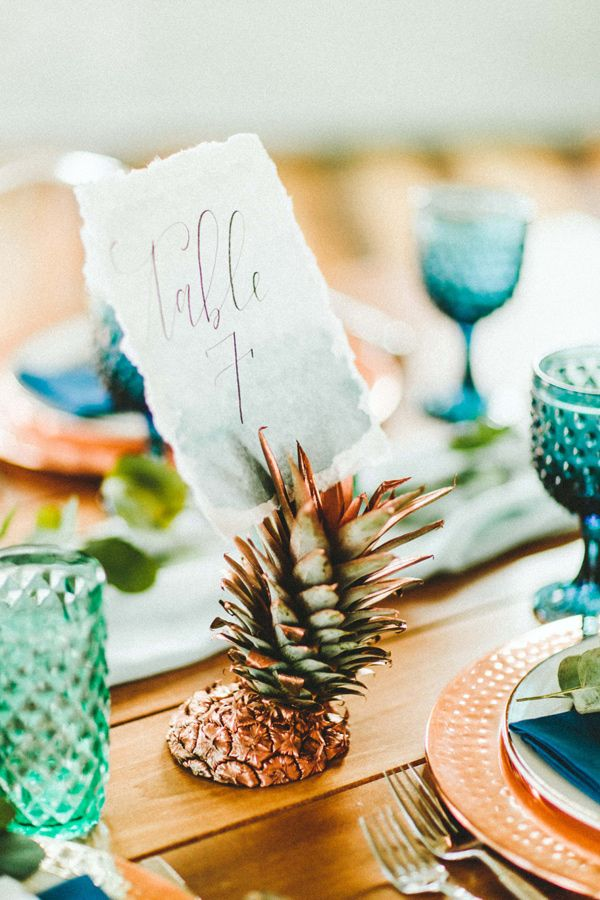 pineapple wedding ideas - photo by Giving Tree Photography http://ruffledblog.com/copper-fruit-wedding-inspiration
