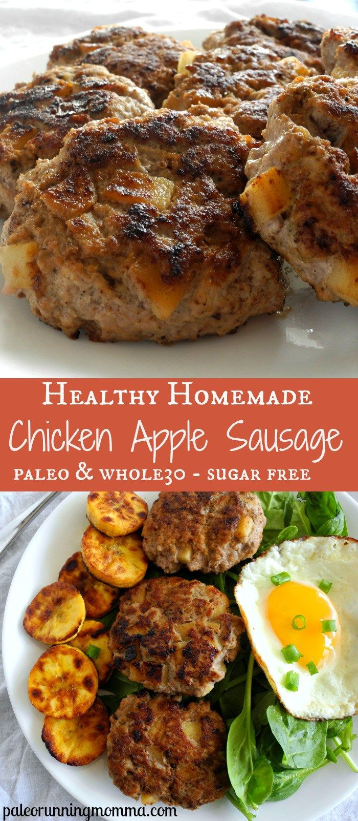Healthy recipe for homemade chicken apple sausage. Easy and perfect for any meal and can be made ahead! #paleo #whole30 #sugarfree @paleorunmomma