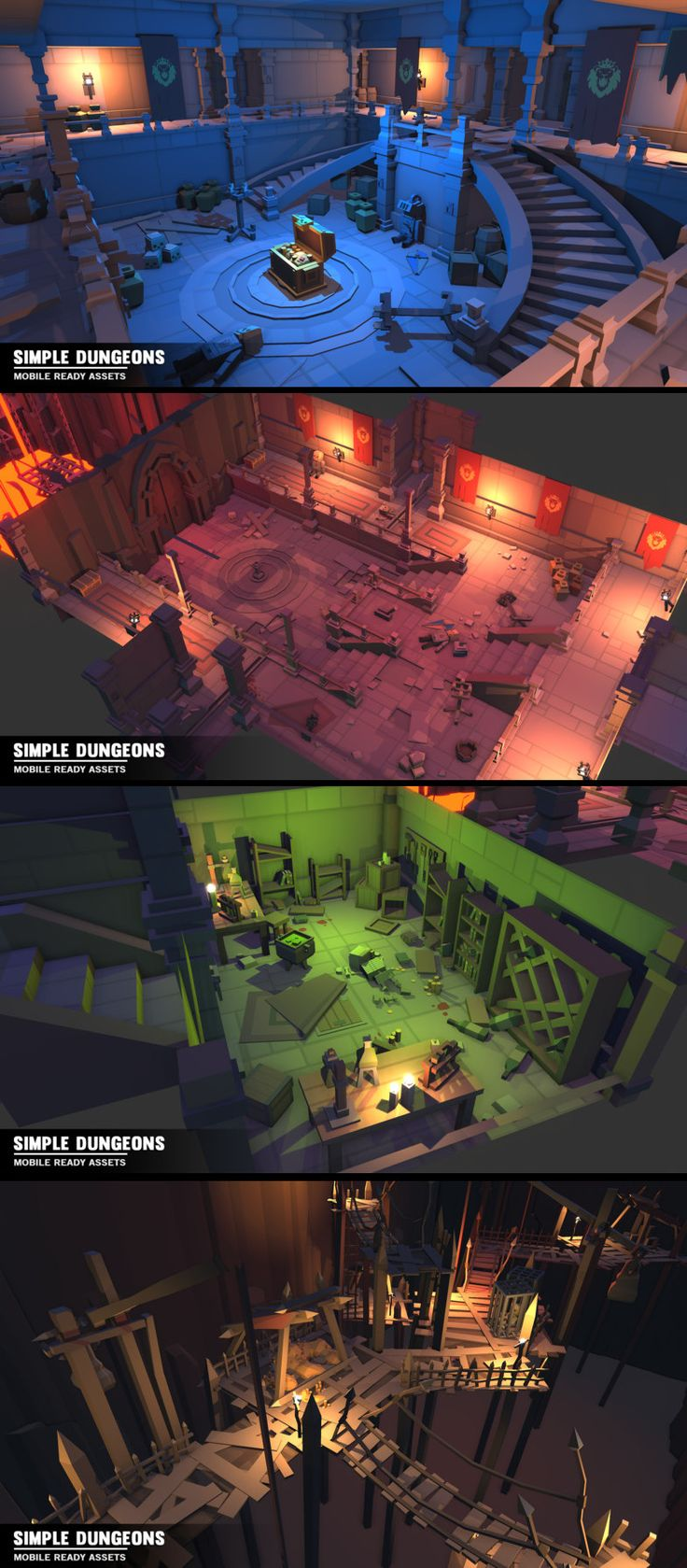 Simple Dungeon Interiors - Cartoon assets A simple asset pack of dungeon interior assets to add to the existing simple assets. Modular sections are easy to piece together in a variety of combinations. Includes demo scene Includes - - Torture room - Crypt - Goblin Cavern - Science Lab - Treasure Room - Dungeon Cells - Majestic Hall - Trap hallway - Mine/Cave sections - Lava Pit
