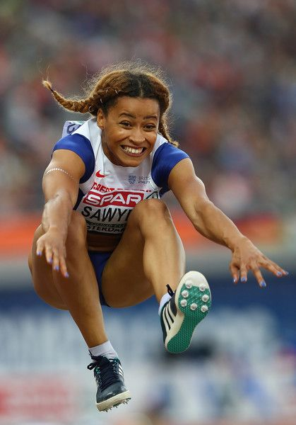 Jazmin Sawyers of Great Britain in action during the final of the womens long jump on day three of The 23rd European Athletics Championships at Olympic Stadium on July 8, 2016 in Amsterdam, Netherlands.