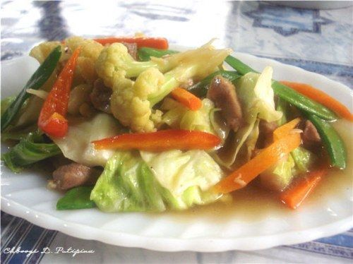 Chopsuey is a Chinese inspired dish adopted by Filipinos. In the Philippines, it is cooked by sautéing pork and other meats and cooked with a variety of vegetables and glazed with a little cornstarch & seasoned with salt and pepper.