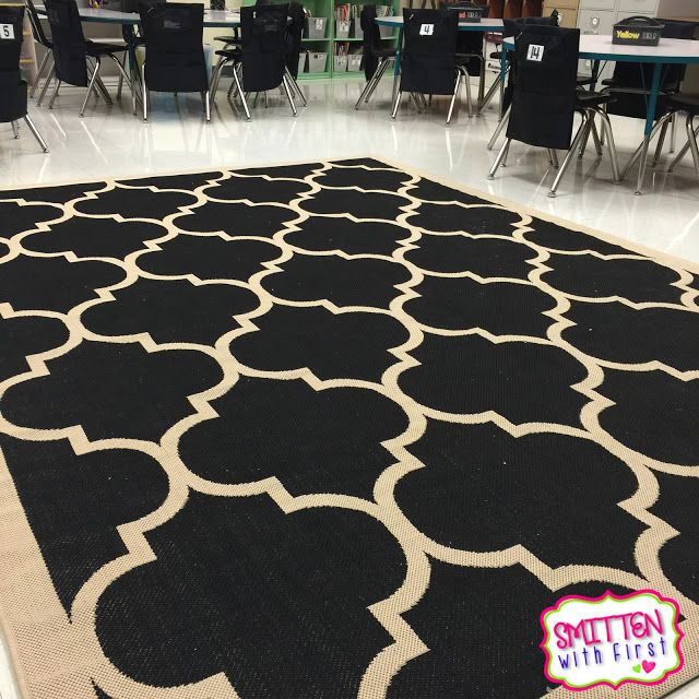 Love this black/white classroom rug!  Adds warmth to the room and would hide all the dirt! :)