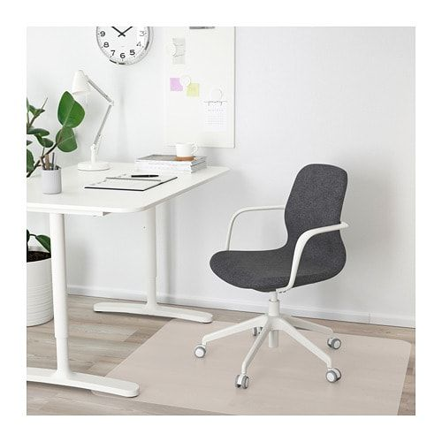 LÅNGFJÄLL Office chair with armrests Gunnared dark grey