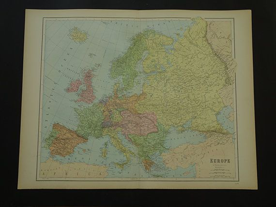 EUROPE large map 1875 old antique maps about by VintageOldMaps