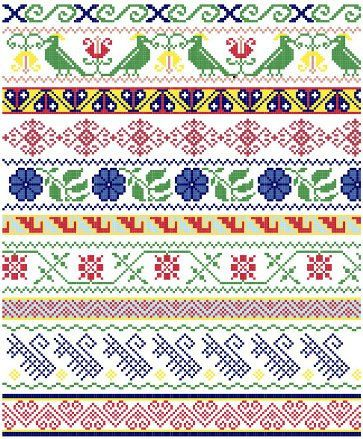Mexican Folk Borders  Cross Stitch Pattern por blackphoebedesigns