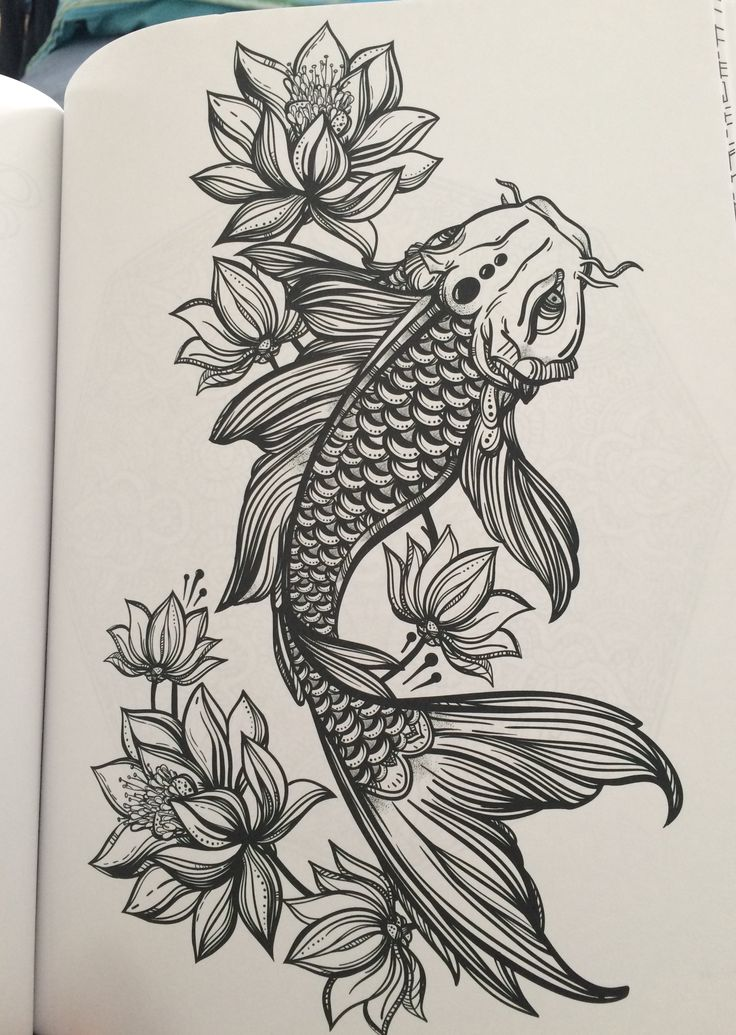 Koi and lotus flowers from my coloring book