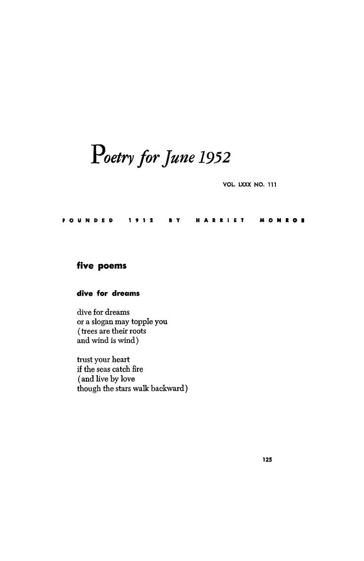 'dive for dream' - e.e. cummings June 1952 : Poetry Magazine