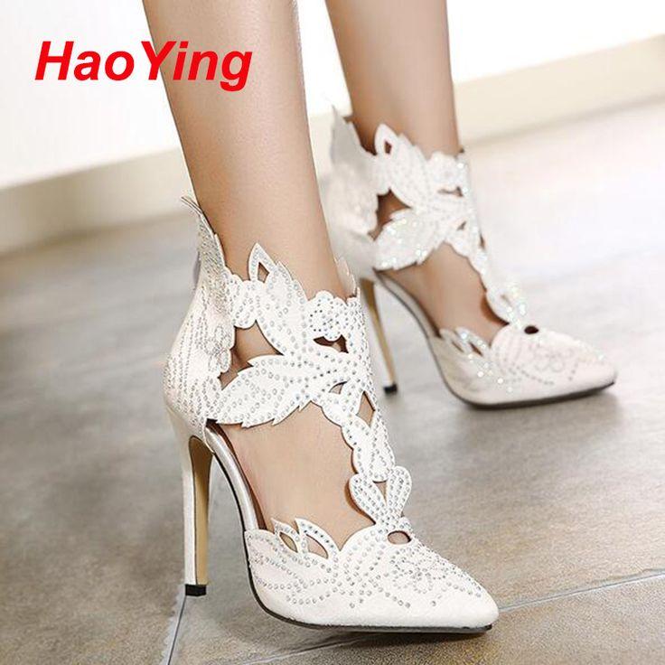 На высоких каблуках сандалии элегантные свадебные туфли для женщин летняя обувь сексуальная туфли на высоком каблуке отметил босоножки на высоком каблуке серебряные башмачки D391