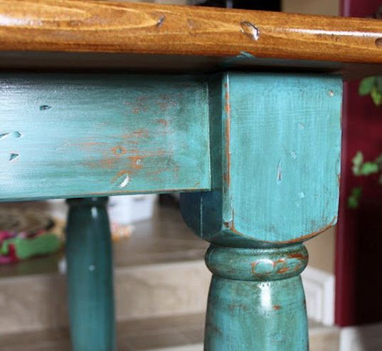 Distressed vintage painted table legs