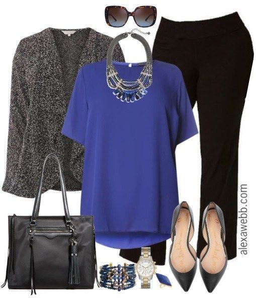 Plus Size Black Trousers Work Outfit