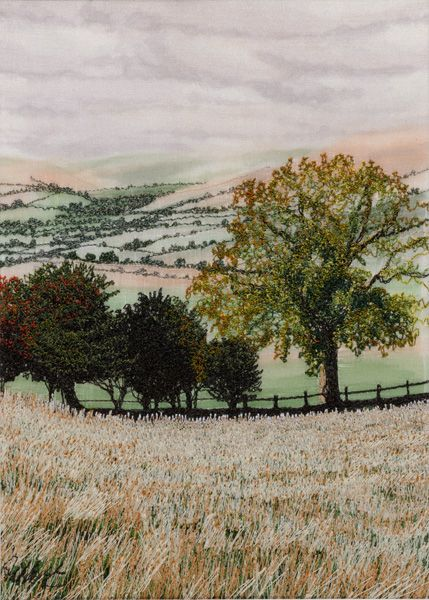 """Across the Valley, 7 x 5"""", by Alison Holt. Thread painting."""