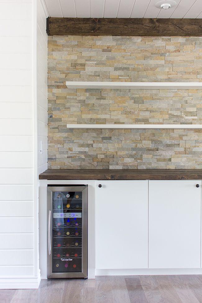 Kitchen Chronicles: Stacked Stone Bar Wall U0026 DIY Floating Shelves