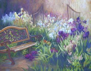 Tumbling Iris Garden Bench by Joan Finnegan Oil ~ 24 x 30  $2,000.