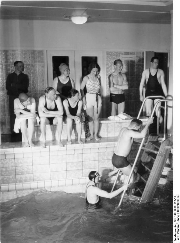Swimming pool aboard cruiser liner Wilhelm Gustloff, 1938