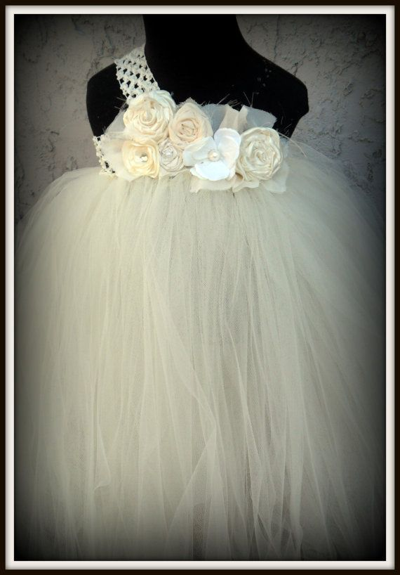 Ivory flower girl tutu dress by gurliglam on Etsy, $68.00