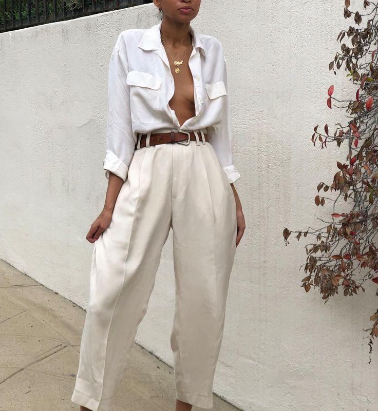 Vintage 100% silk cream menswear style trousers Si…