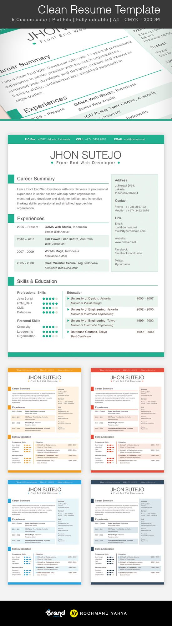Free Clean Resume Template   5 Colors  Resume Free
