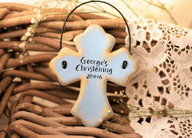 Personalised Cross Baptism,  1st Communion Christening gift, favor, Rustic Blue Cross, Godparents gift, salt dough ornament by BRsaltycandy on Etsy