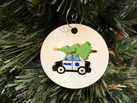 Police Car With Christmas Tree On Top Ornament Law Enforcement Gift Idea 2 Sided Ornament Police Gifts Law Enforcement Gifts Law Enforcement Gifts Ideas