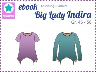 mialuna - Ebook Damenshirt Zipfelshirt Big Lady Indira Gr.46-58
