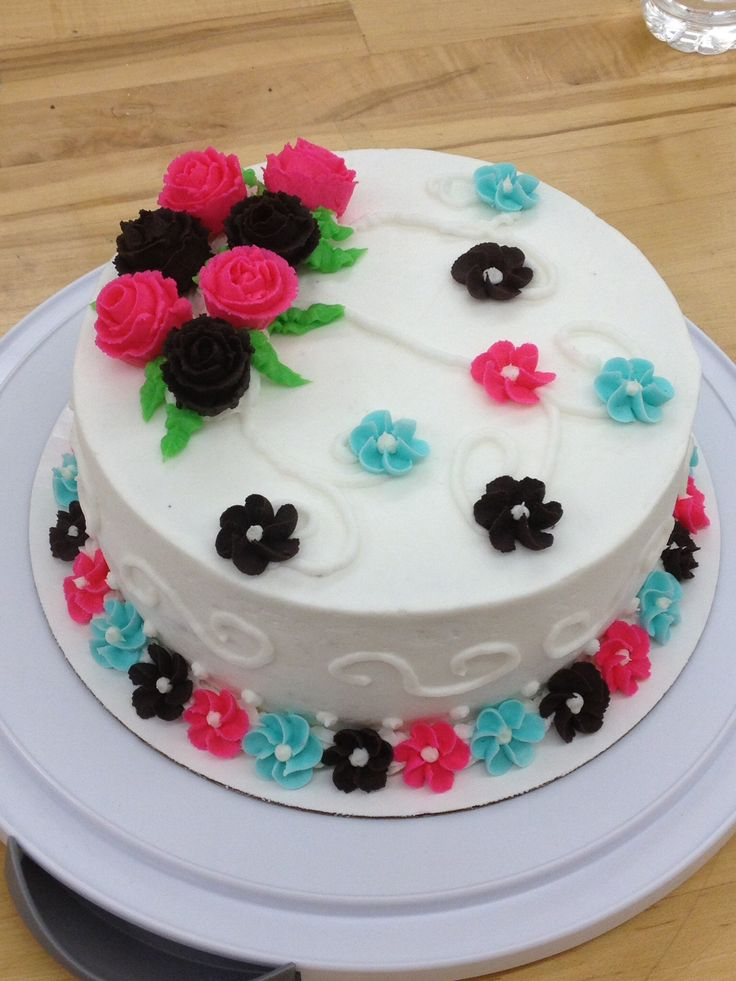 Cake Decorating Course At Michaels : My wilton course 1 final cake wilton cake making Pinterest