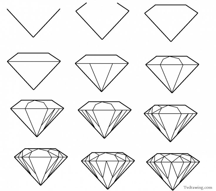 How to draw a simple diamond gemstone pattern easy free step by step | Your Background Blog