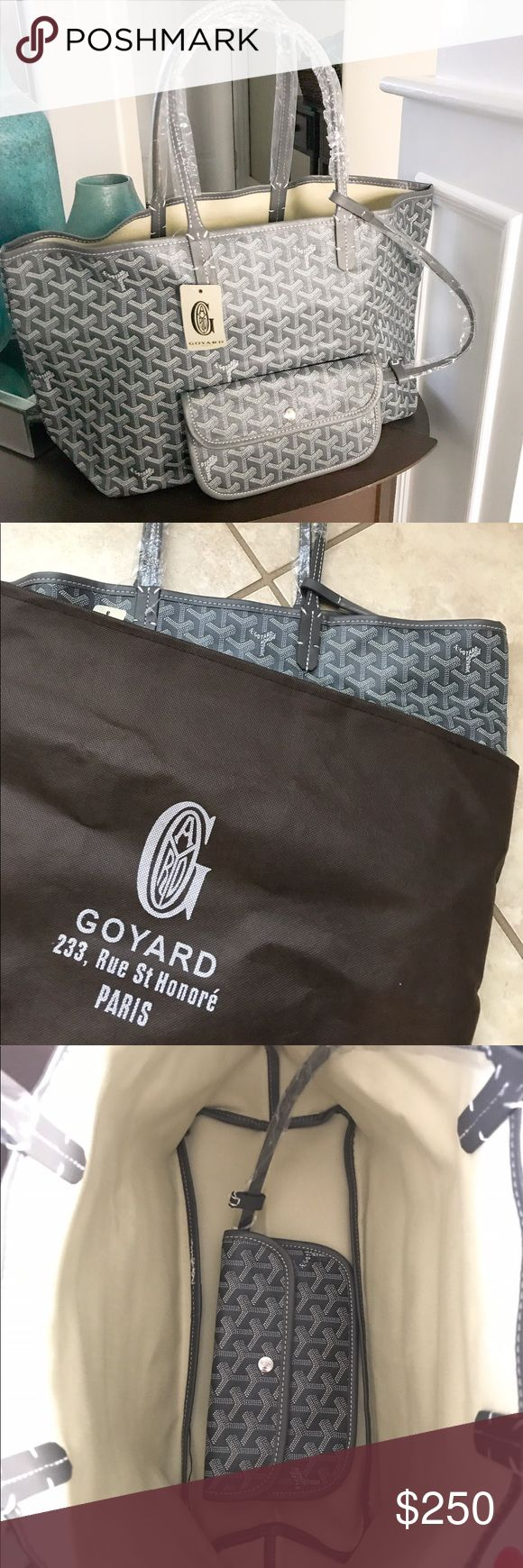 GOYARD CHEVRON PM TOTE WITH WALLET Hard to find. Dark Gray Goyard PM St. Louis tote new never worn, still in plastic, comes with tags attached and brown dust bag. Canvas interior, Coated canvas exterior with cowhide leather handles.  measurements-  L: 18in W: 6in H: 11in Authentic Burgundy  St. Louis Pm retails at $1,560. Inspired Price reflects  🚫trades 💸 offers use button Bags Shoulder Bags