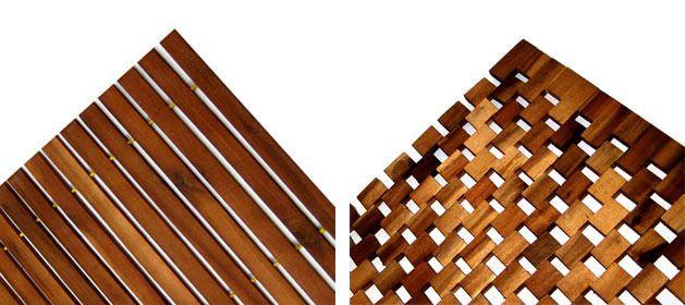 Holz Badematte 80x50cm Holzmatte Duschvorlage Badvorleger Vorleger Holzbadematte