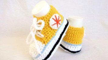Tığ İşi Örgü Converse Bebek Patik Modelleri