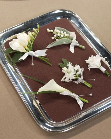 boutonier ideas. they are cute!    http://www.marthastewartweddings.com/231236/sticky-wedding-situations-your-parents/@Virginia Stokes/272440/wedding-etiquette-adviser#/226643