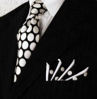 Polka dots  Somehow, printed tie and pocket square on the black pinstripe is both subtle and striking  Custom Pocket Squares at http://www.PocketSquareZ.com