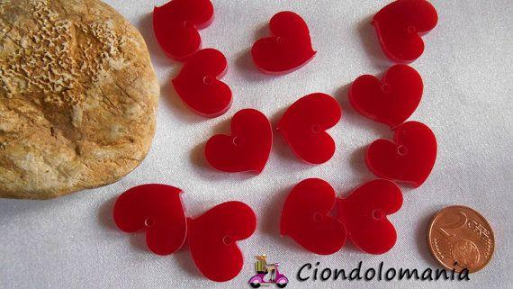 No. 12 hearts red plexiglas by Ciondolomania on Etsy