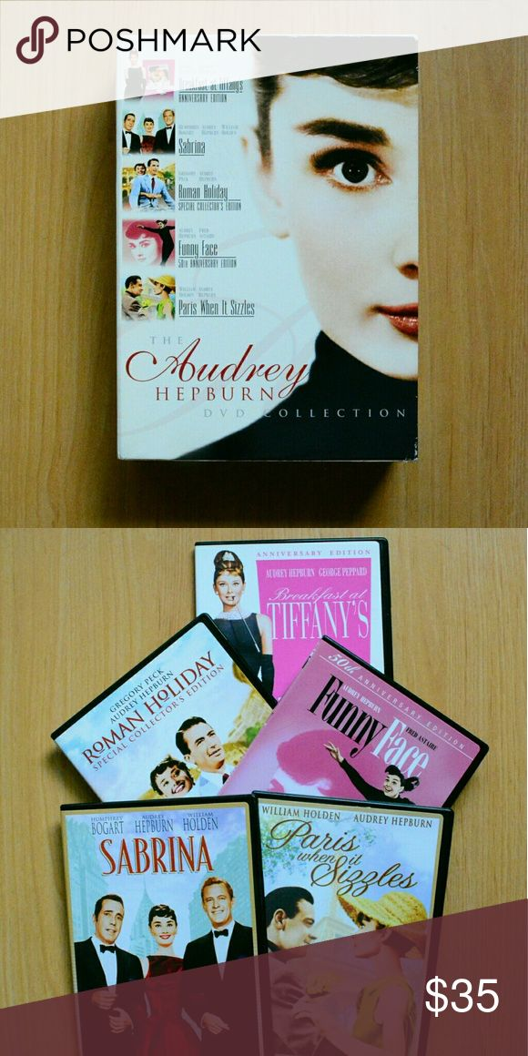 "Audrey Hepburn Special Edition DVD Collection Used, The Audrey Hepburn 5 Disc DVD Collection  #1: ""Roman Holiday"" Special Collector's Edition (Full Screen / 1953)  w/ Gregory Peck  #2: ""Sabrina"" (Full Screen / 1954) w/ Humphrey Bogart & William Holden  #3: ""Funny Face"" 50th Anniversary Edition (Wide Screen / 1957) w/ Fred Astaire  #4: ""Breakfast at Tiffany's"" Anniversary Edition ( Wide Screen / 1961) w/ George Peppard  #5: ""Paris When It Sizzles"" (Wide Screen / 1964) w/ William Holden Audrey…"