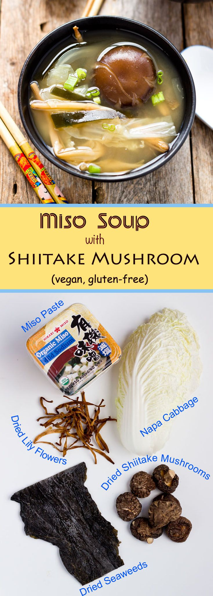 This vegan, gluten-free miso soup is using a homemade shiitake mushroom and kumbo kelp dashi as the base. The flavor is complete and complex. via @lightorangebean